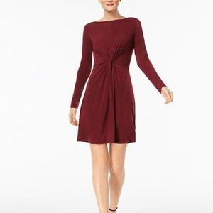 Michael Kors Merlot Twist-Front Dress